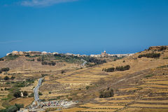 Stony land in Malta. Reclamation of stony soil on the island of Malta is hard for small farmers Stock Image