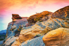 Stony mountain at sunset Royalty Free Stock Image