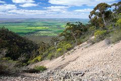 Stony Mountainside. Stony mountain valley, overlooking the Melrose plain, on the side of Mt Remarkable, Flinders Ranges, South Australia Royalty Free Stock Photography