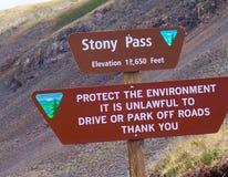 Stony Pass sign Stock Photo