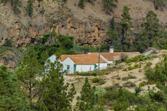 Stony path at upland surrounded by pine trees at sunny day. Typical rural house in a mountain valley. Rocky tracking road in dry. Mountain area with needle leaf stock images
