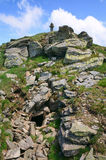 Stony post on summer mountain ridge Royalty Free Stock Images