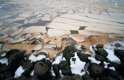 The stony river shore Stock Photos