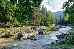 Stony riverbed. Mountains of Carpathians. stock photos