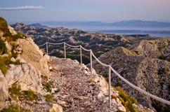 Stony road on the sv. Jure mountain, Croatia Royalty Free Stock Image