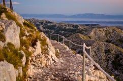 Stony road on the sv. Jure mountain, Croatia Royalty Free Stock Photo