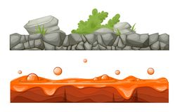Stony, rocky surface of earth with vegetation, lava with craters. Colorful seamless game landscape, terrain gaming interface. Landscape for 2D games. Stony vector illustration