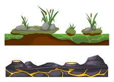 Stony, rocky surface of earth with vegetation, lava with craters. Colorful seamless game landscape, terrain gaming interface. Landscape for 2D games. Stony stock illustration