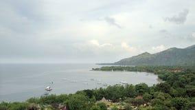 Stony seacoast and mountains . Indonesia. Bali.Aerial view from drone. Stony seacoast and mountains . Indonesia Bali stock video footage