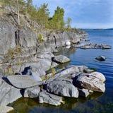 Stony shore of Ladoga lake Stock Images
