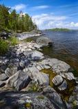 Stony shore of Ladoga lake Royalty Free Stock Images