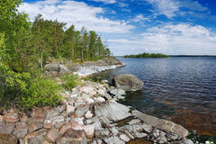Stony shore of Ladoga lake Stock Images