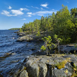Stony shore of Ladoga lake Royalty Free Stock Photography