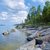 Stony shore of Ladoga lake Stock Photo