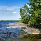 Stony shore of Ladoga lake, Russia Royalty Free Stock Photography