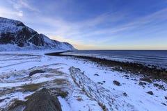 Stony shoreline on Vestvagoy Island Royalty Free Stock Photography