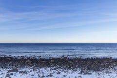 Stony shoreline on Vestvagoy Island Royalty Free Stock Images