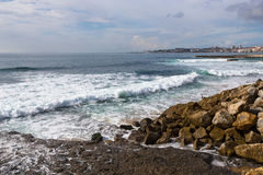 The stony shores of the Atlantic Ocean. Portugal Stock Photo