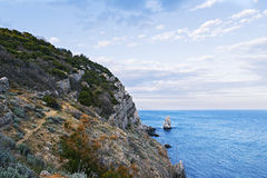 Stony slope of the southern coast of Crimea Stock Photo