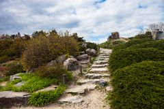 Stony stairs in the rockery in Kyiv botanical garden Stock Photography