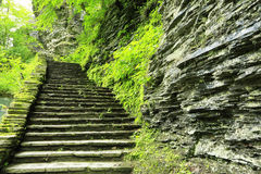Stony stairs in Watkins Glen gorge Royalty Free Stock Photo