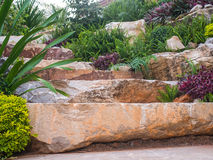 Stony steps. The decorated  footsteps  are made of multiple rocks Royalty Free Stock Images