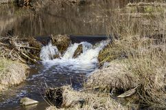 River Dūkšta flows in the Neris Regional Park in Lithuania. A stony stream of Dūkšta flows in the Neris Regional Park between the Buivydai and stock photo