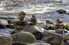 River Dūkšta flows in the Neris Regional Park in Lithuania. A stony stream of Dūkšta flows in the Neris Regional Park between the Buivydai and stock photography