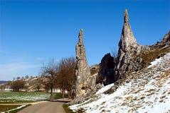 Stony Virgins. The Steinerne Jungfrauen (Stony Virgins) stone needles in the Eselsburger Tal (Donkey Castle Valley) in Herbrechtingen, near Ulm, Baden Stock Photos