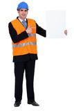 Stood with blank poster Stock Photography