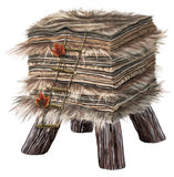 Stool in wood with fur, stairs and leaves Royalty Free Stock Photography