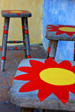 Stools with sun painting Royalty Free Stock Images