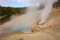 Stoom die van een geiser bij het beroemde yellowstonepark toenemen stock foto