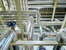 Stoom van het het staal de kokend hete water van de procesboiler in ruimte Royalty-vrije Stock Foto's