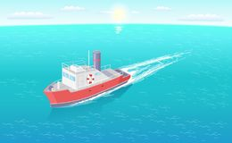 Stoomboot Marine Transport Vessel Sailing in Overzees royalty-vrije illustratie