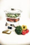 Stoomboot met groenten en het meten van band Royalty-vrije Stock Afbeelding