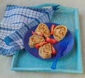 Stoombroodje met vlees wordt gevuld dat Stock Fotografie