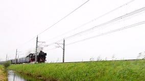 Stoomlocomotief die de auto's van de passagiersspoorweg trekken stock videobeelden