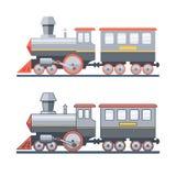 Stoomlocomotief op de spoorweg Vector vlakke illustratie Stock Afbeeldingen