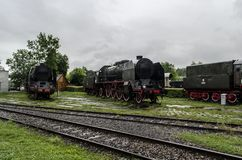 Stoomlocomotief, spoorweg stock foto's