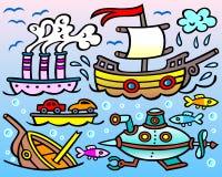 Stoomschip, varende boot, schipbreuk, onderzeeër en drie nieuwsgierige vissen Stock Foto