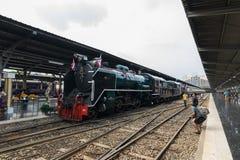 Stoomtrein bij de Spoorweg van de Staat van Thailand 119 jaar verjaardags Royalty-vrije Stock Fotografie