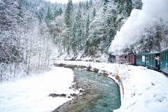 Stoomtrein in de winter royalty-vrije stock afbeelding