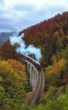 Stoomtrein op Zampach-viaduct Royalty-vrije Stock Foto's