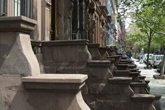 Stoops. Apartment stoops on a street in New York City on the upper west side royalty free stock image
