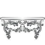 Stołowy meble z szczegółowymi ornamentami Obrazy Royalty Free