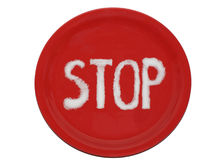 Stop. Forbidden traffic sign isolated on a white background; salt on the red plate Stock Photography