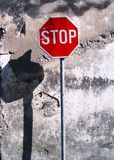 Stop. Street sign stop and old wall surface Stock Images