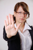Stop. Business woman shows her hand palm says stop Stock Images