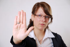 Stop. Business woman shows her hand palm says stop Stock Photos
